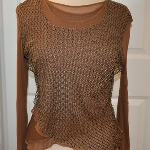 Zba top mesh netting overlay brown size large